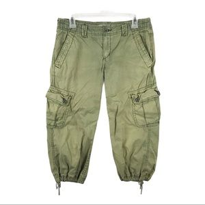Express Green Cargo Cropped Pants